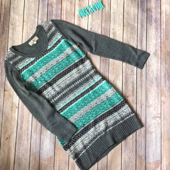58f1af33a65 Girls Striped Gray Green Sweater Dress